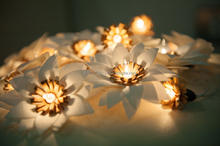 Delicate Lighting string handmade, natural tone of lotus flower for home, garland, patio party decoration