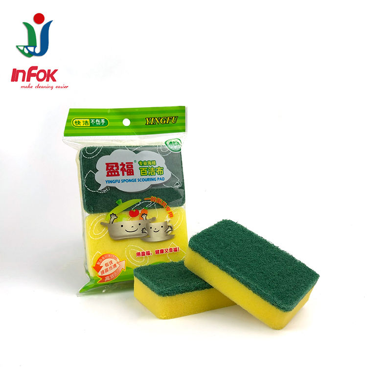 Heavy duty abrasive kitchen cleaning sponge scouring pad