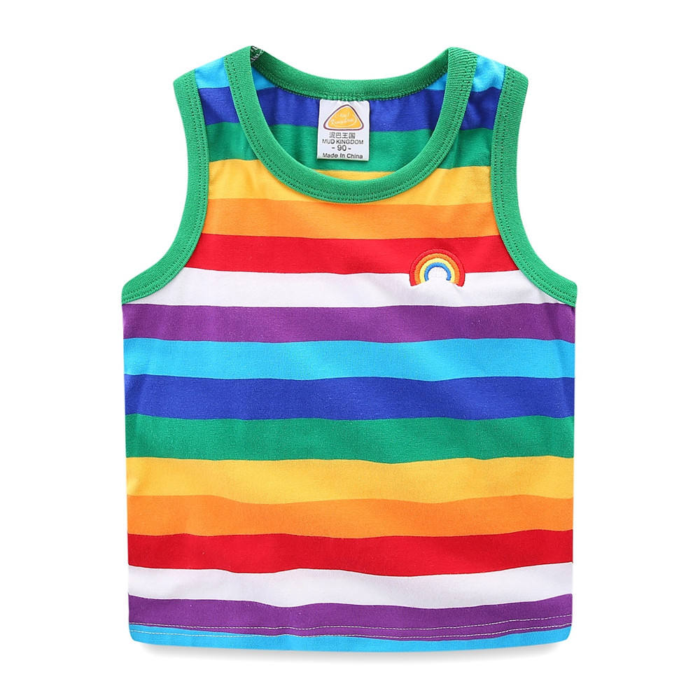 Mudkingdom boys and girls summer vacation rainbow stripe cotton casual vests