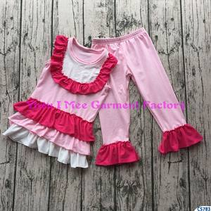 Trendy Organic Cotton Baby Clothes Sets 2018 with Pink Ruffle Pants CS783
