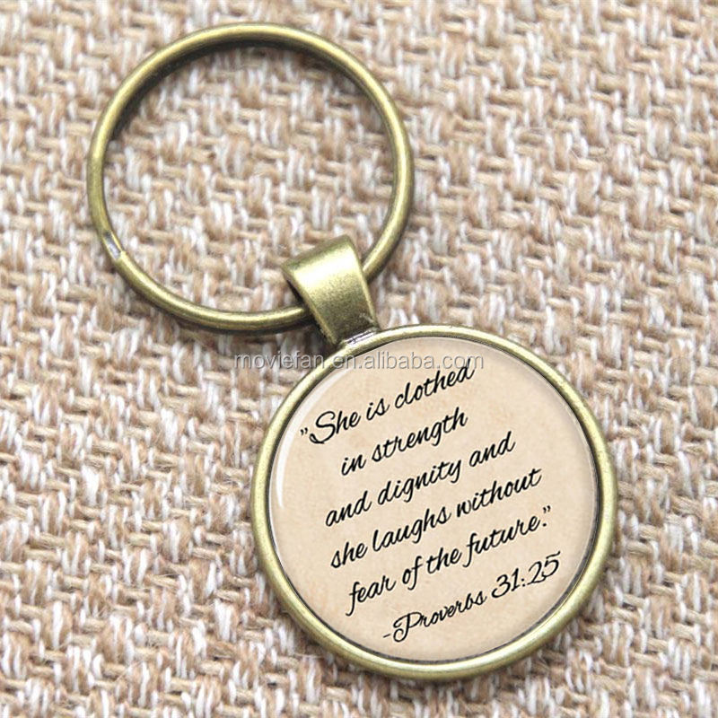Proverbs 31 keyring , She is clothed in strength and dignity keyring print glass photo Jesus Symbolism keyring