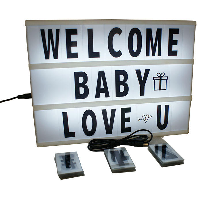black frame white panel cinematic light box led lighting cinema letters