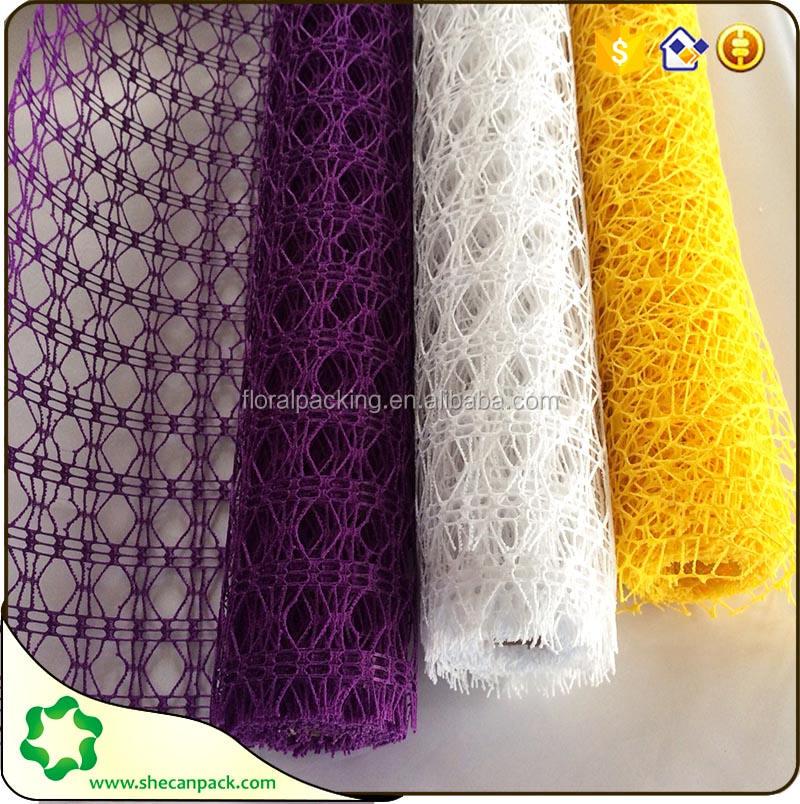 SHECAN En ventas! 50 cm de ancho de tela de encaje para el embalaje de flores decoración