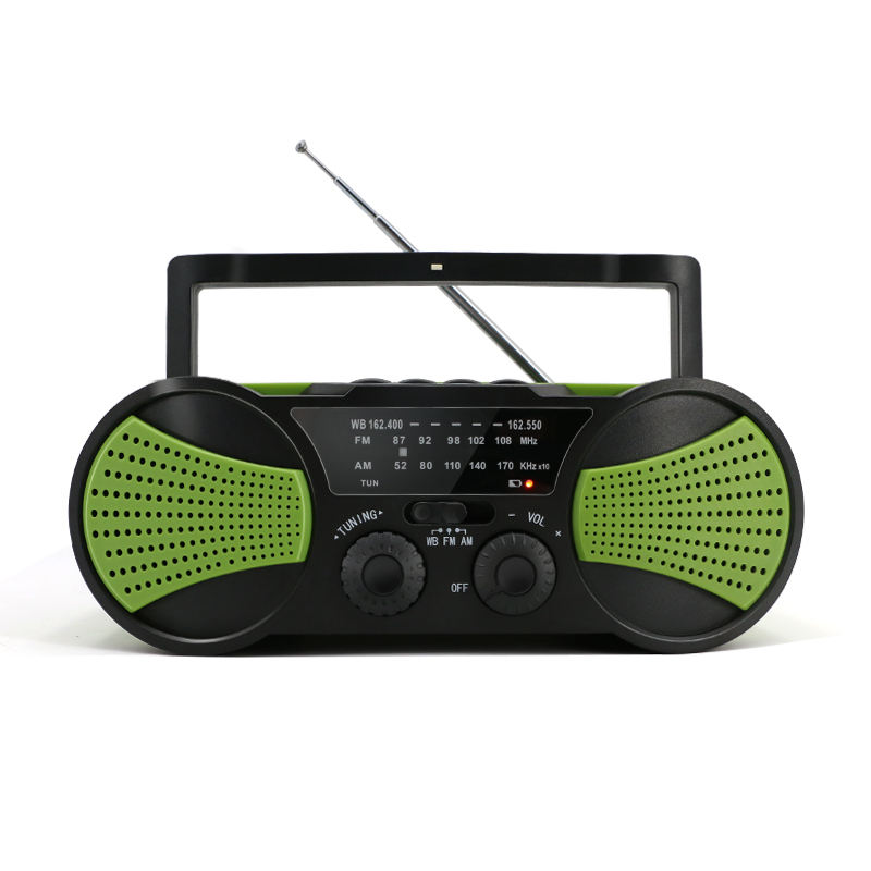 New product emergency AM FM NOAA solar crank weather radio with TF card MP3 player & LED light