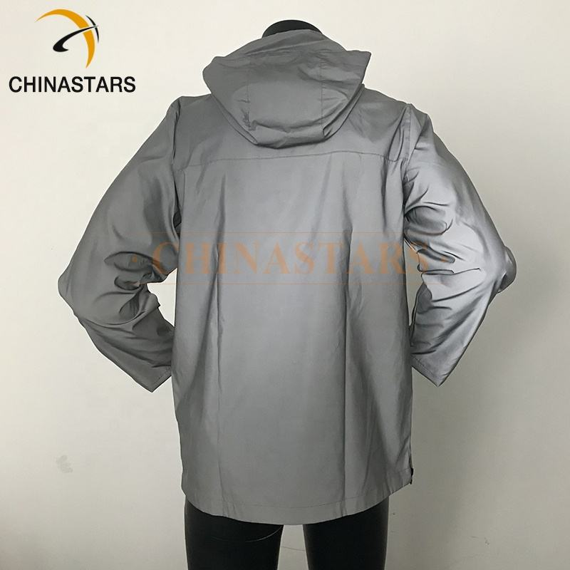 high vis reflective coat jacket in black and silver color