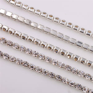 YALI Shining Meer China AA Kwaliteit 3mm Zilver Base Clear Crystal Rhinestone Diamante Chain