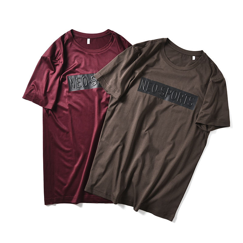 man solid color tshirt extended lyocell t-shirt 3d embossing/embossed printing t shirt