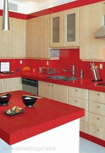 Noble Absolute Red Artificial Quartz Stone with Low Cost for Countertop