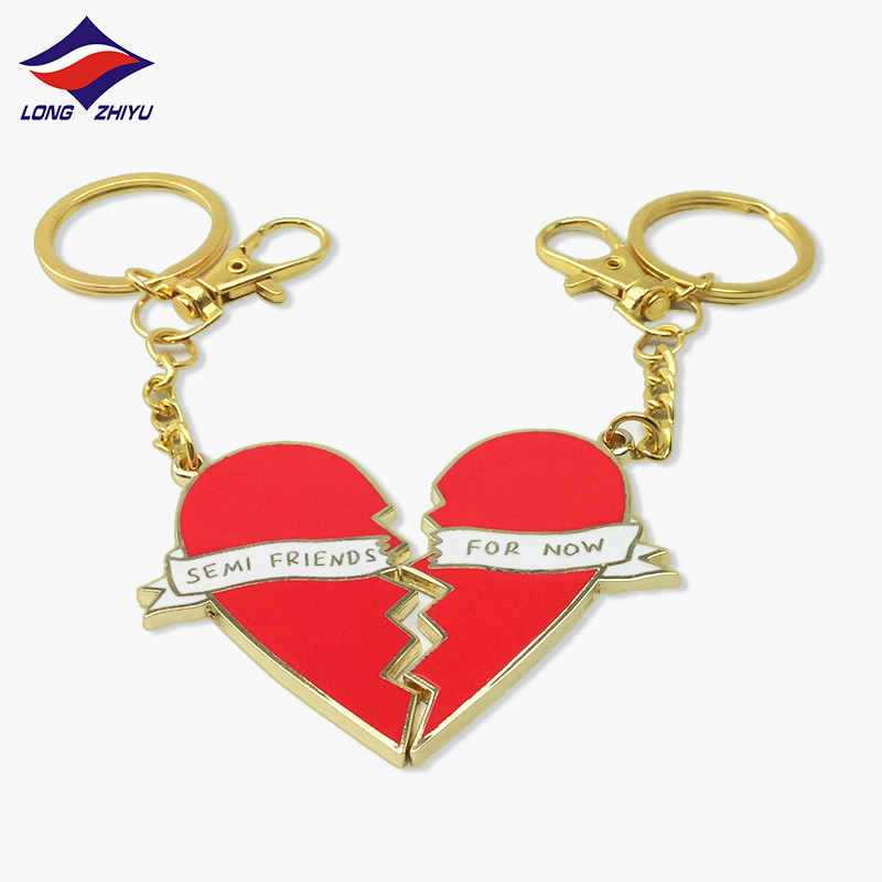 Longzhiyu 12years Promotional Gifts Metal Key ring Gold Plating Enamel Coin Key chains