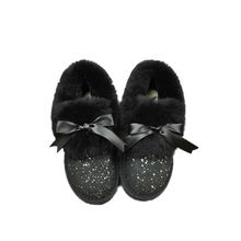 Factory Direct Genuine Cow Leather And Faux Fur Inside Lining Women Winter Snow Boots Indoor Warm Slippers