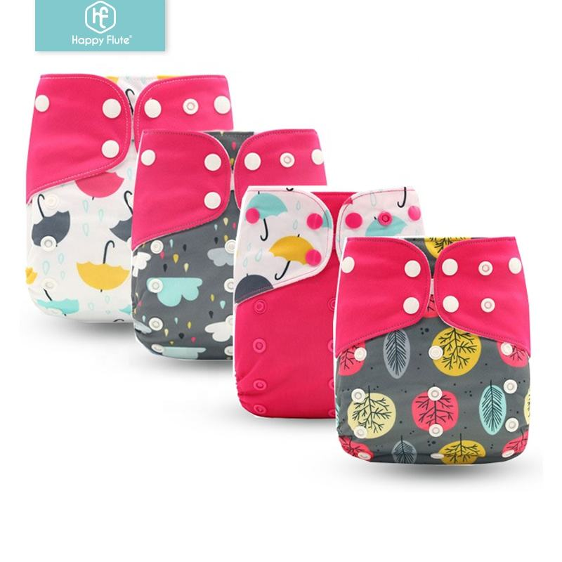 HappyFlute new baby products printed cloth diapers high absorption washable baby diapers