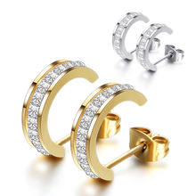 Luxury Women's Nice Crystal Zircon Inlaid Stainless steel Ear Stud Earrings For Women