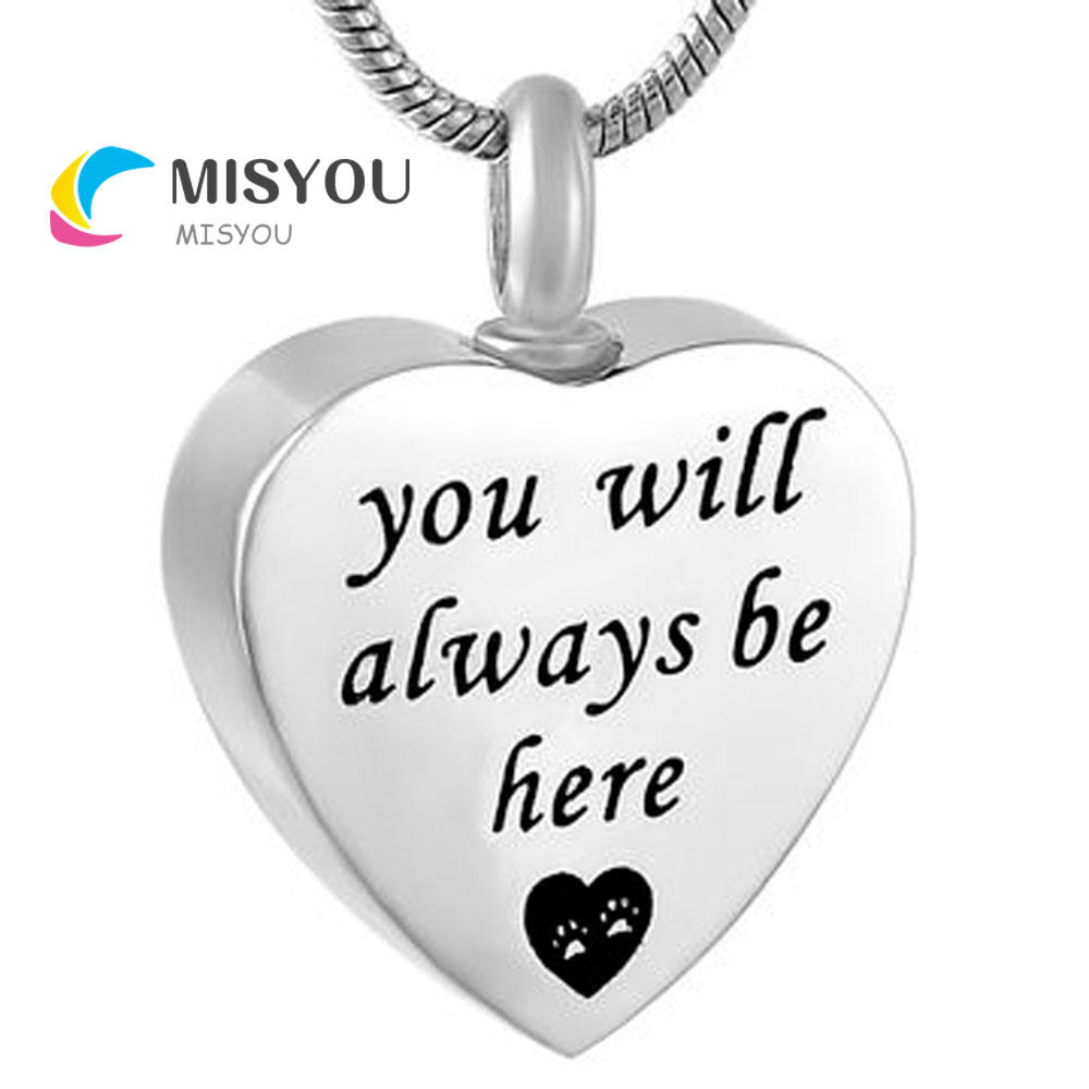 Cremation Jewelry you will always be here heart Memorial Urn Necklace Ashes Keepsake Pendant