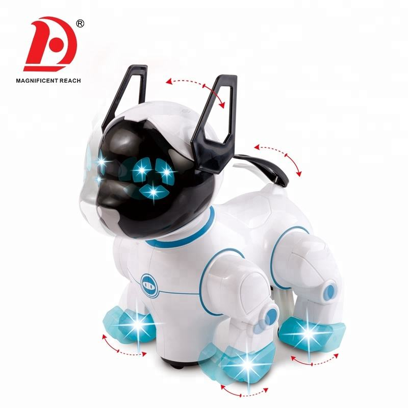 HUADA 2020 Educational Simulate Intelligent Electric Plastic Dancing Robot Toy Dog with Music & Light