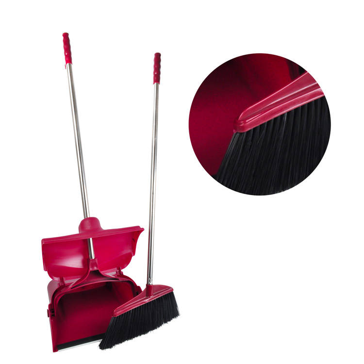 New arrival high quality plastic lobby cleaning sweeping standing competitive windproof broom besom and dustpan set combo