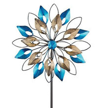 metal Double Wheel Wind Spinner decoration Garden Stake ornament