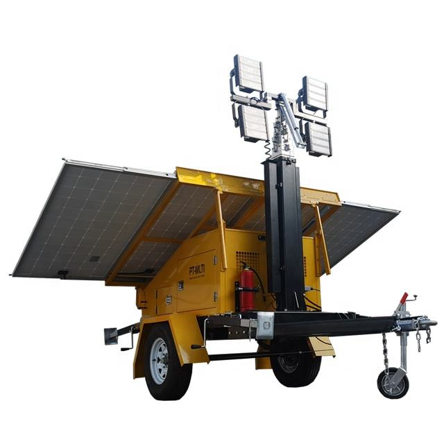 1200w Mobile Solar Light Tower instead of diesel light tower