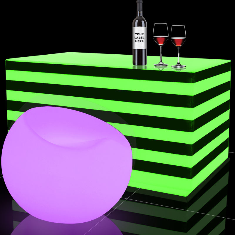 2020 Modern Plastic cheap PE Glowing Lighting Led Square Coffee Stripe Table for Hot Selling/bar table