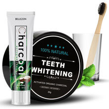 Organic Charcoal Coconut Teeth Whitener Powder with Bamboo Toothpaste Toothbrush