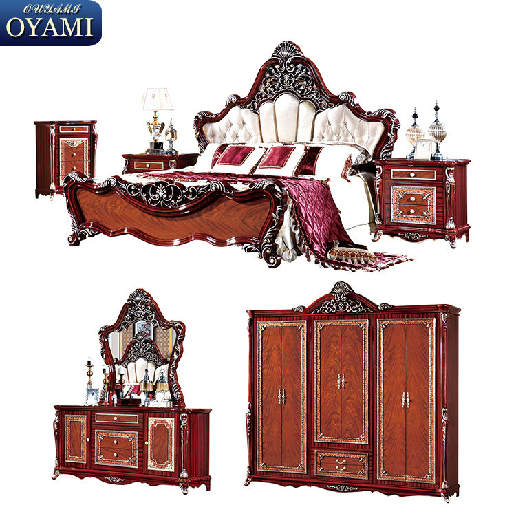 Solid wood foshan reliable middle east style bedroom furniture
