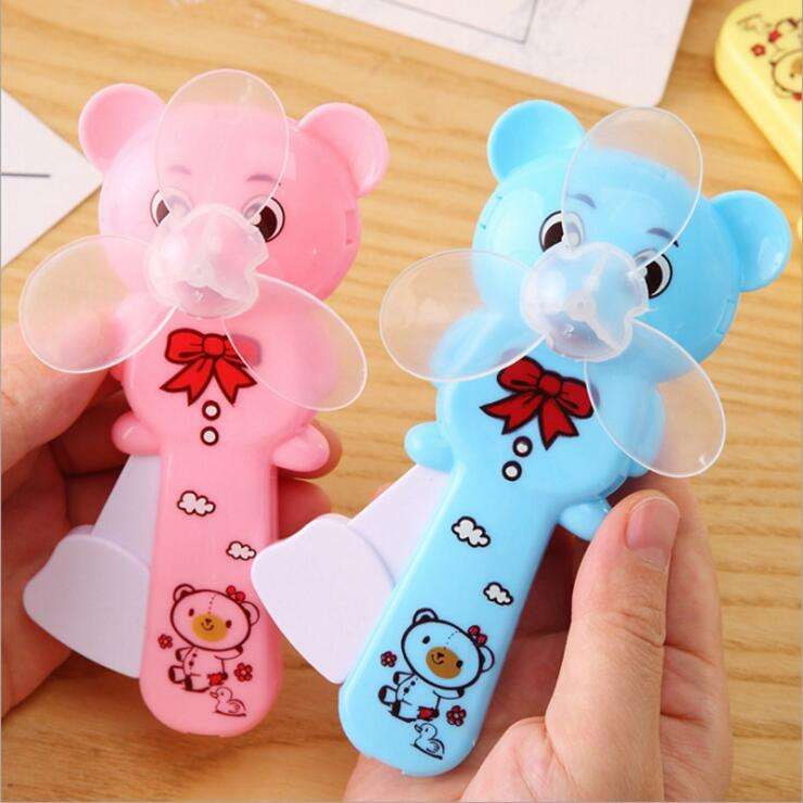 summer Children's portable cartoon hand press fan creative mini hand-held manual fans promotional gifts for kids