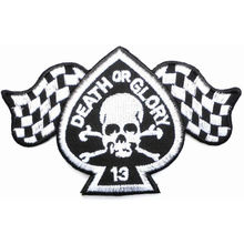DEATH OR GLORY Skull Rockabilly Cafe Racer Biker Ion On Embroidered Patch