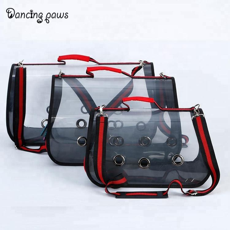 Hot selling dog/cat bag foldable travel transparent designer pet carriers 5 colors