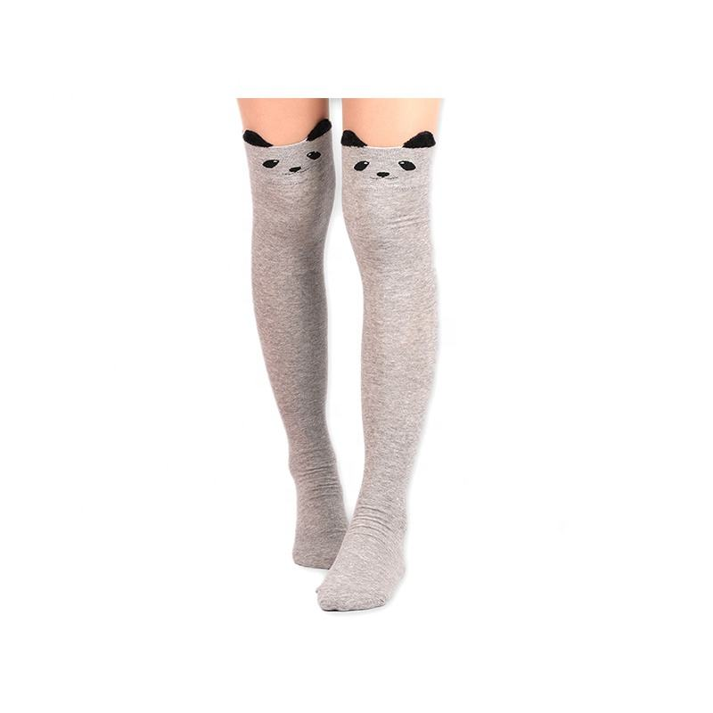 Best Sellers Wish Amazon Solid Color With Cartoon Cat Top Over Knee Women Stocking Socks