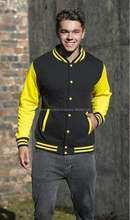 Custom Varsity Jacket Cotton/Polyester, Contrast Sleeves, Knitted collar, cuffs and waistband with stripe details
