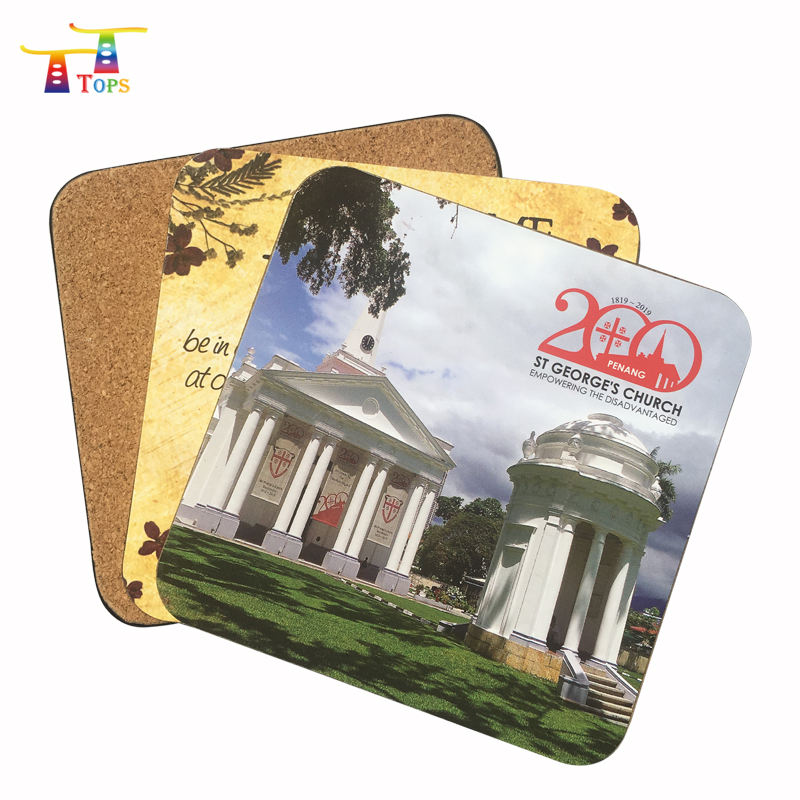 Sublimation Eco-friendly Mat Pad Customized Printing Tea Wooden Brass Cork Coasters Cup Promotional Crystal Wine Coaster Sets