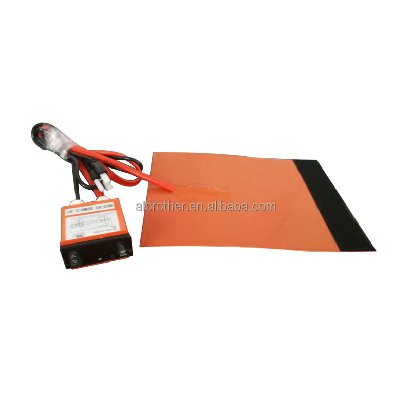 Waterproof 12V Dc Heating Pad Car Battery Heater Plate Silicone Rubber Heater With Digital Temperature Controller