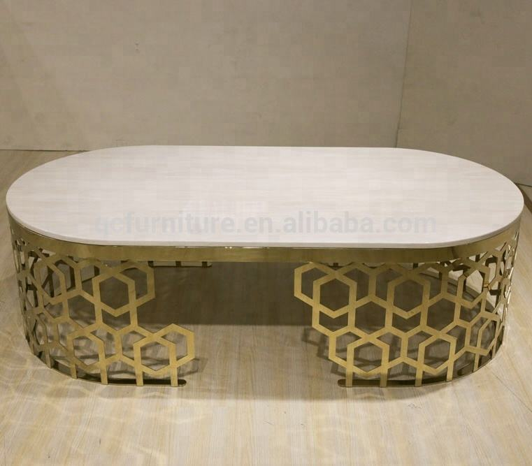 Luxury gold stainless steel center table home decoration