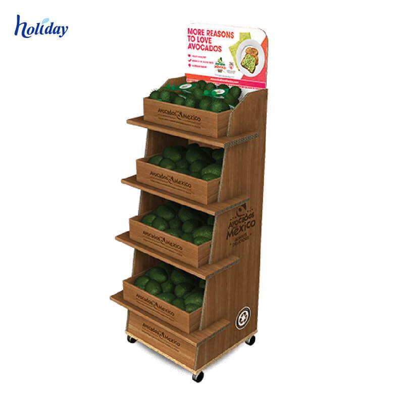 Proveedor de China de alta calidad fruta de madera estante de exhibición/tienda de <span class=keywords><strong>apple</strong></span> Pantalla de madera mesa con 4 piernas