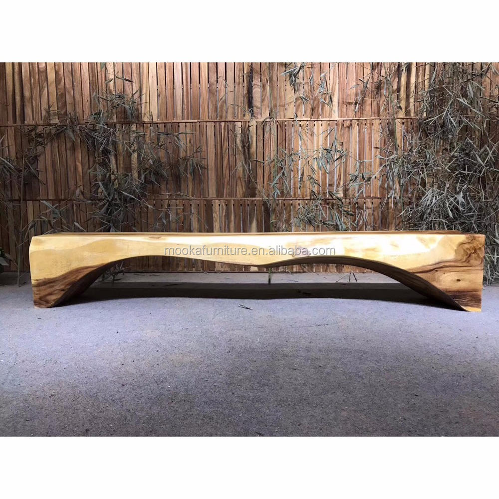 One pc whole log live edge walnut auditorium seating wooden bench