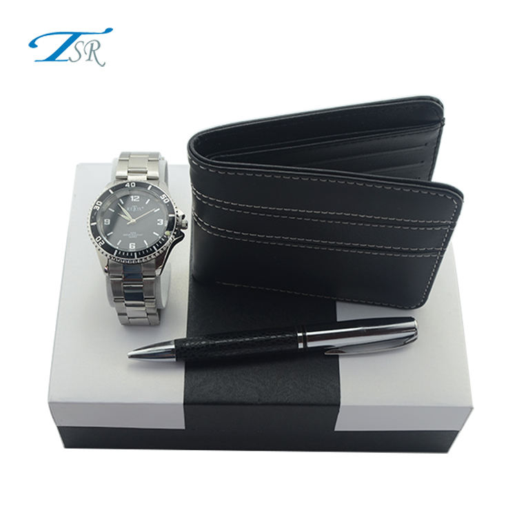 Men'S Gift Set Custom Made Father'S Day Gift Watch+Pen+Wallet + Quartz Wrist Watches