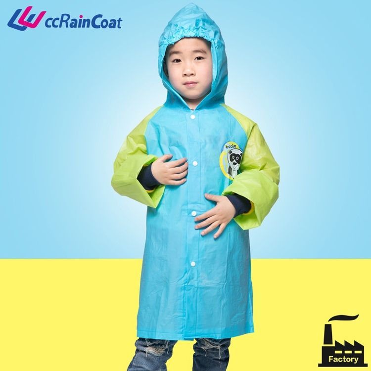 Animal design kids rubber pvc rain coat