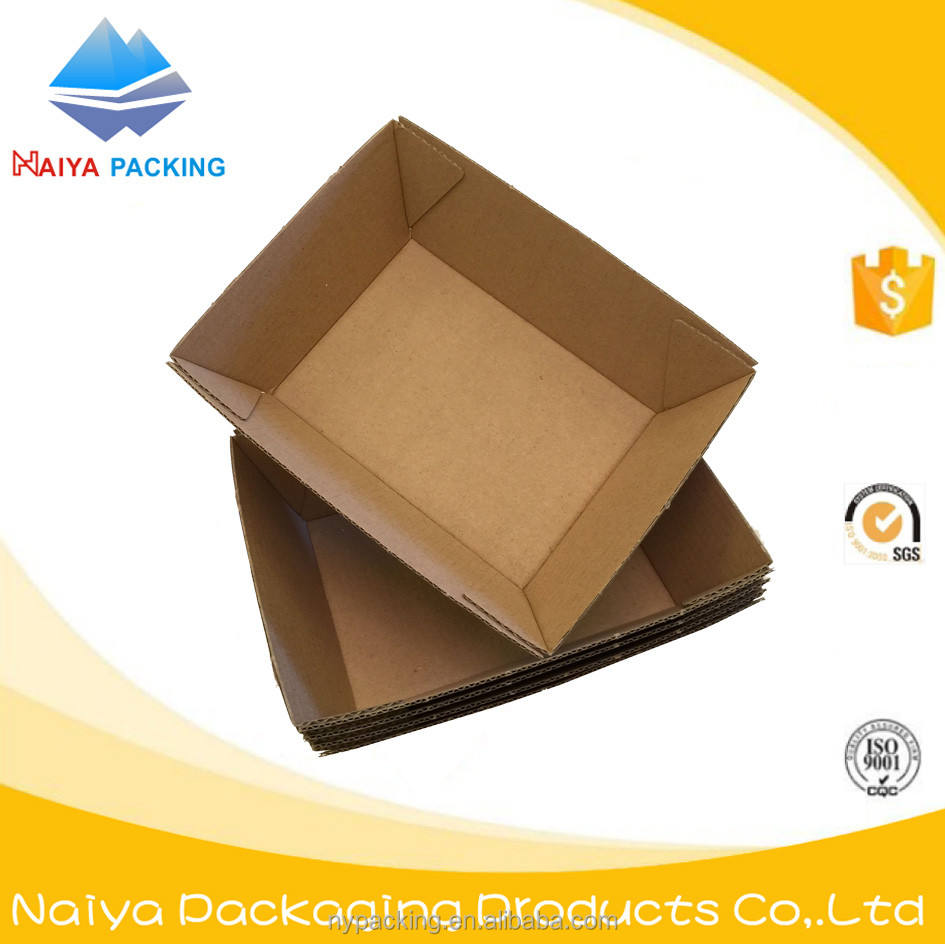 logo printed take away corrugated kraft cardboard printed chips tray with logo