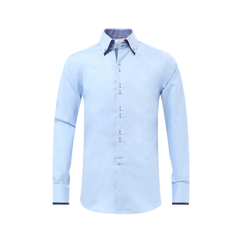 2020 New design double collars men's formal blue dress shirts fashionable style shirt for men