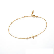 75264 Simple promotional thin gold cross bracelet