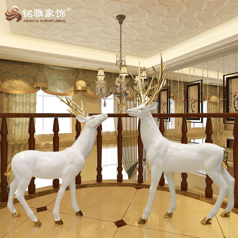 White unpainted life size deer statue resin wax figures FRP for sale home & garden ornaments