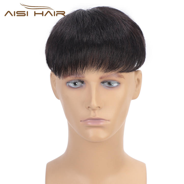 Aisi Hair Toupee Man Wig Hairpieces Lace Head Spin with Clips Remy Hair Replactment Human Hair Machine Made Toupee for Men