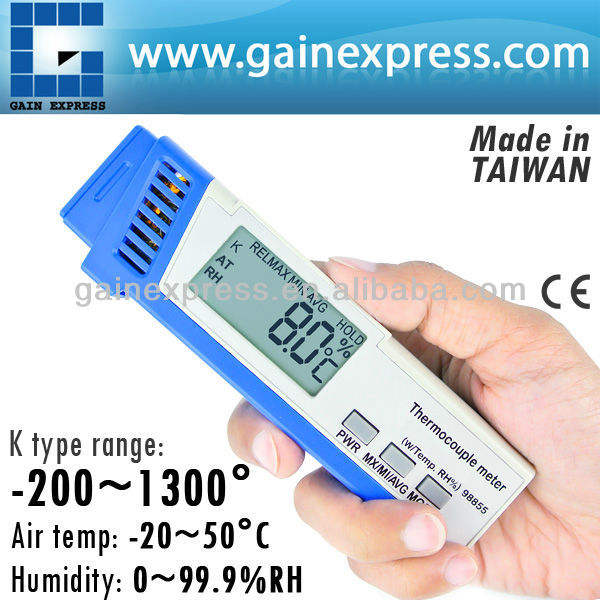 Digital K type Thermocouple Thermometer with Ambient Temperature and Relative Humidity (RH) Made in Taiwan
