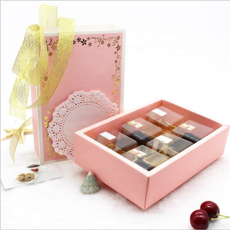 Pink gold stamping disposable Recycled Materials luxurious pastry box cookie gift box