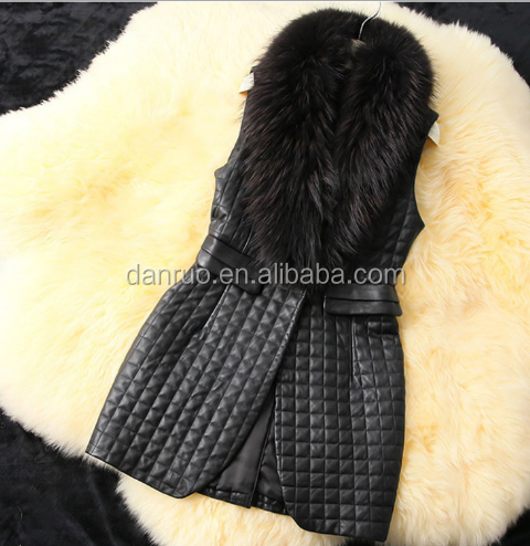 Autumn and winter Female Korean version of the Slim in the long section imitation fox fur collar imitation pu leather vest