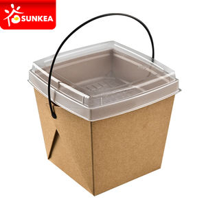 Take away paper food pails with plastic handles