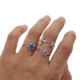fashion tiny band open ring with sapphire cz stone paved bblue adjustable ring with rose gold white gold plated for girl