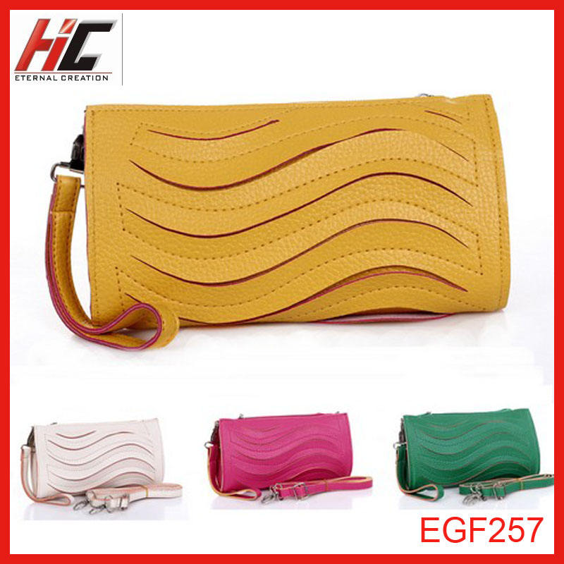 fashionable coral color women bags raised grain wallet clutch bag