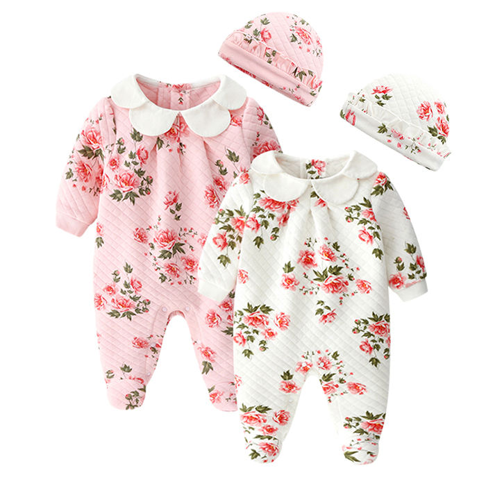 Wholesale winter organic cotton newborn baby romper infant toddler baby girl clothes set baby bodysuit onesie jumpsuit