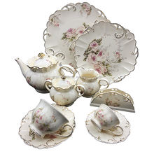 24pcs Embossed German Design Modern Fine Royal Porcelain Tea Set For Sale