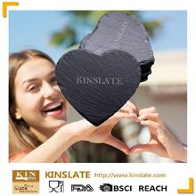 Heart shape personalized engraved slate cup coasters